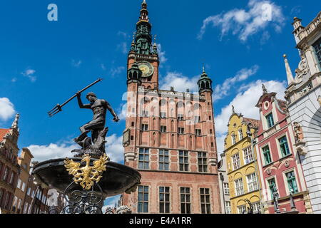 King Neptune Statue in The Long Market, Dlugi Targ, with town hall clock, Gdansk, Poland, Europe - Stock Photo
