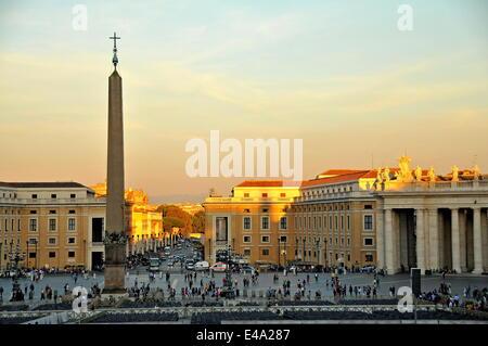 Obelisk, St. Peter's Basilica, Vatican, Rome, Lazio, Italy, Europe - Stock Photo