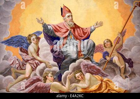 St. Nicolas ascends to heaven, Bishop of Myra, Life of St. Nicolas, St. Nicolas de Veroce church, St. Nicolas de - Stock Photo