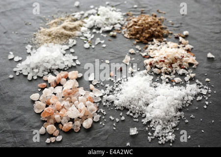 Different types of salt crystals, sea salt, himalaya coarse salt, fleur de sel, chipotle flingsalt, hickory smoked - Stock Photo
