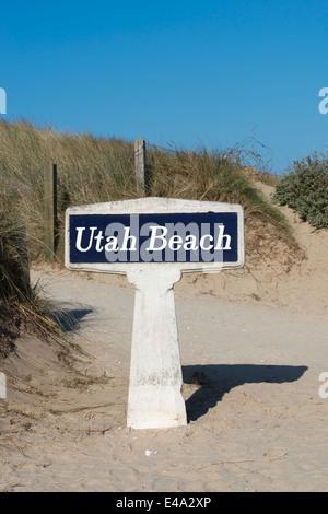 France, Normandie, Manche, Sainte Marie du Mont, Utah Beach, sign on path - Stock Photo