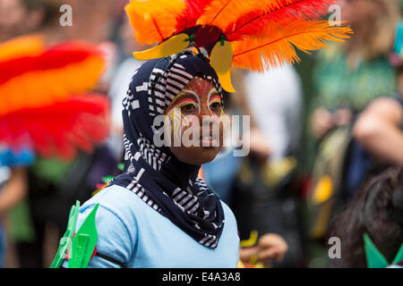 Bristol, UK. 5th July 2014. Many children from diverse ethnic backgrounds attend and perform in Bristol's St. Paul's - Stock Photo