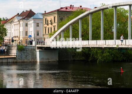 Bridge of Kaarsild, River Emajogi, Tartu, Estonia, Baltic States, Europe - Stock Photo