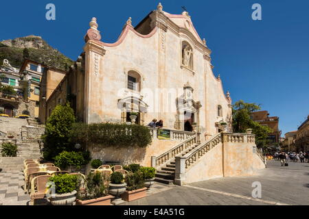 San Giuseppe Church and Piazza 9 April on Corso Umberto, Taormina, Catania Province, Sicily, Italy - Stock Photo