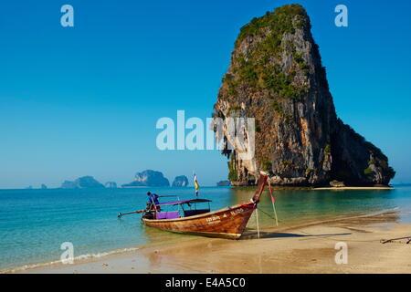 Ao Phra Nang Bay, Railay Beach, Hat Tham Phra Nang Beach, Krabi Province, Thailand, Southeast Asia, Asia - Stock Photo