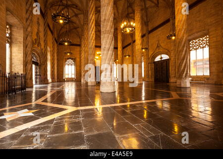 Gothic architecture inside La Lonja de la Seda (La Lonja) (Silk Exchange), UNESCO World Heritage Site, Valencia, - Stock Photo