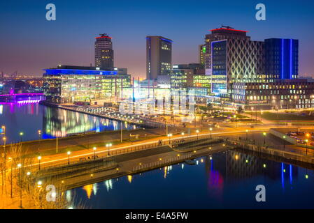 Elevated view of the modern MediaCity UK complex at Salford Quays in Manchester, England, United Kingdom, Europe - Stock Photo
