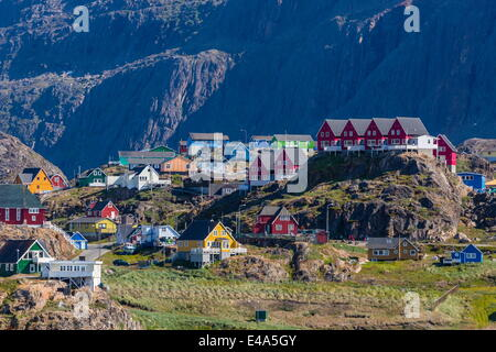 View of the brightly colored houses in Sisimiut, Greenland, Polar Regions - Stock Photo