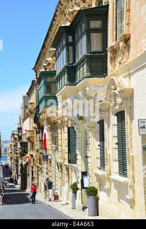 Narrow steep street with gallarija balconies, Valletta (Il-Belt Valletta), Southern Harbour District, Malta Xlokk - Stock Photo