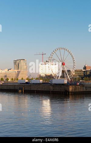 Germany, Hamburg, ferris wheel in Hafencity - Stock Photo