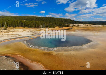 Crested Pool; hot spring; Upper Geyser Basin, Yellowstone National Park, UNESCO, Wyoming, USA - Stock Photo