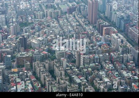 View over Taipei from the 101 Tower, Taipei, Taiwan, Asia - Stock Photo