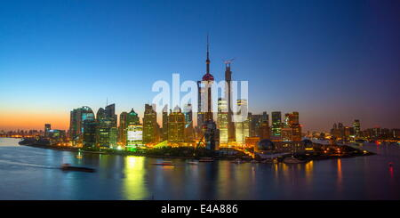 Financial District skyline including Oriental Pearl Tower and Shanghai Tower, Pudong District, Huangpu River, Shanghai, - Stock Photo