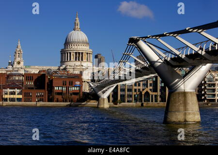 St. Pauls Cathedral, Millennium Bridge and River Thames viewed from South Bank, London, England, United Kingdom, - Stock Photo