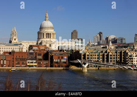 St. Pauls Cathedral, Millennium Bridge and the River Thames viewed from South Bank, London, England, United Kingdom, - Stock Photo