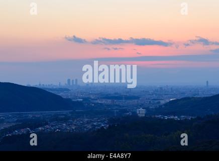 The City of Nagoya at dusk - Stock Photo