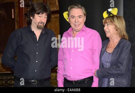 London, UK. 07th July, 2014. Sir Trevor Nunn, Sir Andrew Lloyd Webber and Dame Gillian Lynne at a Photo call to - Stock Photo