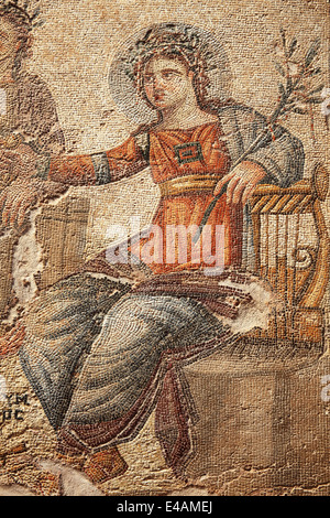 Apollo from the 4th century Roman mosaic of  Apollo and Marsyas at the House of Aion, Paphos, Cyprus - Stock Photo