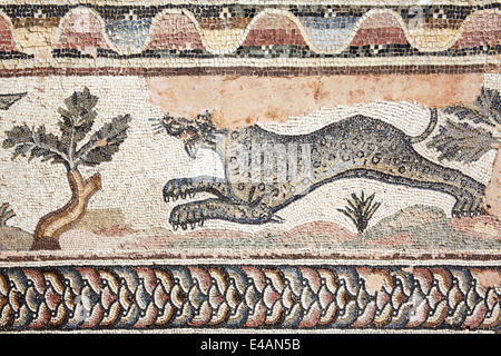 Leopard from a 4th century Roman mosaic at the Villa of Theseus, Paphos, Cyprus - Stock Photo