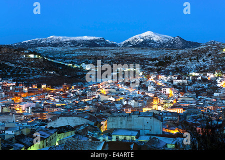Panoramic view at dusk, Alcala la Real, Jaen-province, Region of Andalusia, Spain, Europe - Stock Photo