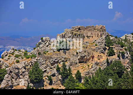 The Castle of Pyli overlooking the strait between Kos island and the Turkish coast (in the background). Dodecanese, - Stock Photo