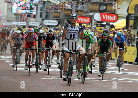 London, UK. 7th July, 2014. German Marcel Kittel of Team Giant-Shimano wins stage three of the Tour De France in - Stock Photo
