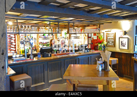 Main bar in 15th century The White Horse Pub, Shere Lane, Shere, Surrey, England, United Kingdom - Stock Photo