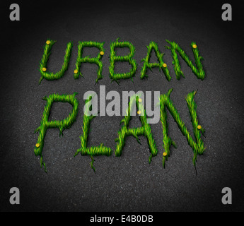 Urban plan concept as an asphalt city floor with cracks shaped as text and grass emerging as a renewal and neighborhood - Stock Photo