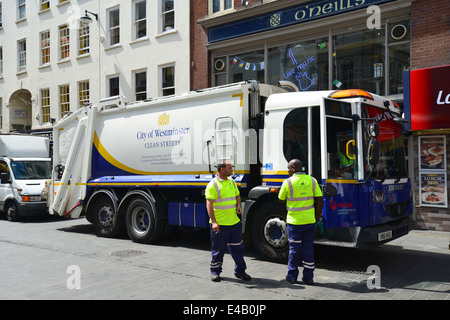 Rubbish truck collection in Wardour Street, Chinatown, West End, City of Westminster, London, England, United Kingdom - Stock Photo