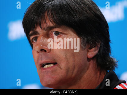Belo Horizonte, Brazil. 8th July, 2014. German head coach Joachim Loew attends a press conference ahead of the 2014 - Stock Photo