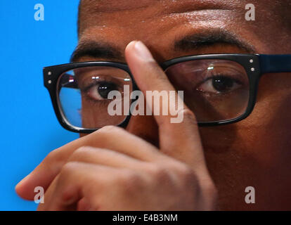 Belo Horizonte, Brazil. 8th July, 2014. German Jerome Boateng attends a press conference ahead of the 2014 FIFA - Stock Photo
