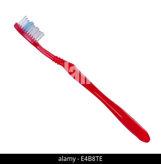 Toothbrush red color on white background. Stock Photo