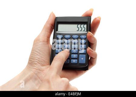 Calculator in hand 555 - Stock Photo