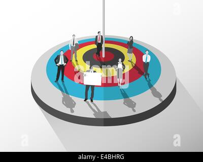 Business people standing around target - Stock Photo