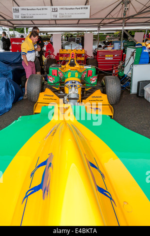 Michael Schumacher's 1993 Benetton-Ford B193 F1 car in the paddock at the 2014 Goodwood Festival of Speed, Sussex, - Stock Photo