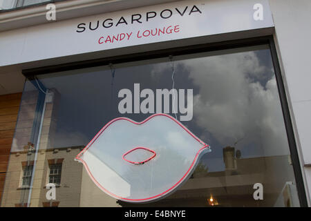 Wimbledon London, UK. 8th July, 2014. The Sugarpova pop up sweet shop by Maria Sharapova  which was opened only - Stock Photo