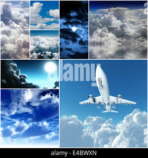 different day and night clouds and skies - Stock Photo
