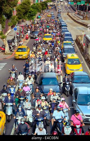 Morning rush hour in Taipei. - Stock Photo