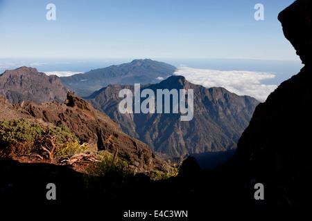 view of the volcanoe crater near the Roque de los Muchachos, Caldera de Taburiente National Park, La Palma, Canary - Stock Photo