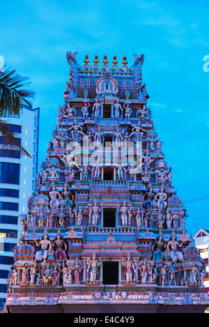 South East Asia, Singapore, Little India, Sri Veeramakaliamman Hindu Temple - Stock Photo