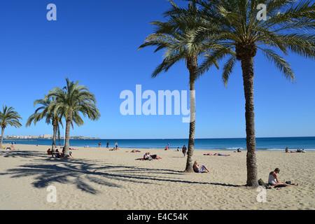 Playa del Postiguet, Alicante, Costa Blanca, Alicante Province, Kingdom of Spain - Stock Photo