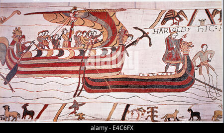 William the Conqueror Sails against England, 1066, The Bayeux Tapestry - Stock Photo