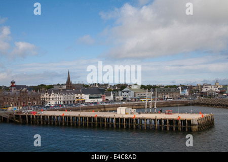 Stornoway Isle of Lewis Outer Hebrides view back to town centre and ferry port from departing ferry - Stock Photo