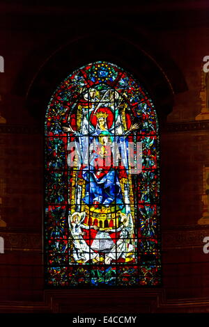 Lead Glass Window in the Cathedral in Strasbourg, France - Stock Photo