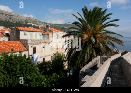 View from top of old city wall, Dubrovnik, Croatia - Stock Photo