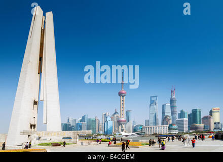 pudong skyline and monument in shanghai riverside china - Stock Photo