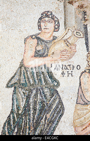 A segment from the 4th century Roman mosaic of  the first bath of Archilles at the Villa of Theseus, Paphos, Cyprus - Stock Photo