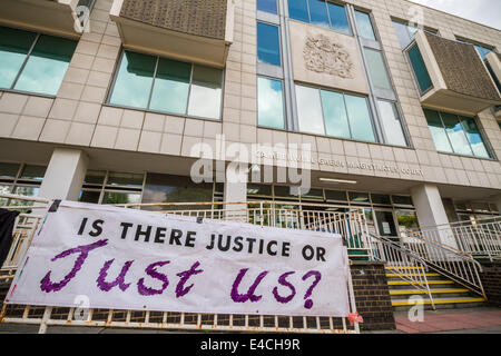 London, UK. 8th July 2014. Protest against Police brutality at Camberwell Green Magistrates Court in London Credit: - Stock Photo