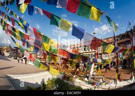 Nepal, Kathmandu, Boudhanath, stupa colourful prayer flags - Stock Photo