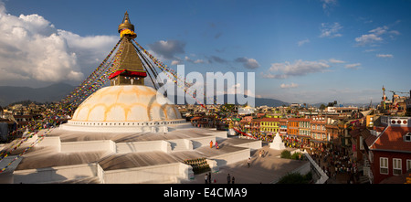 Nepal, Kathmandu, Boudhanath, stupa and surrounding monasteries, panoramic - Stock Photo
